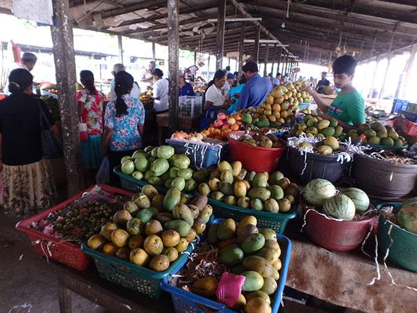 あれっ!?と思うほど小さなジャフナの市場。隣の建物では野菜を売っていましたが、そちらも少なくてビックリ。甘くて美味しいマンゴーは1個約30円でした