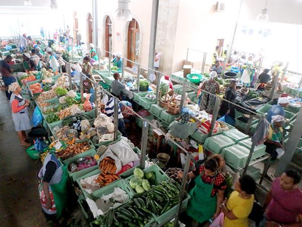 活気があるプラトー地区のメルカド(市場) 。食事をすることも出来ます