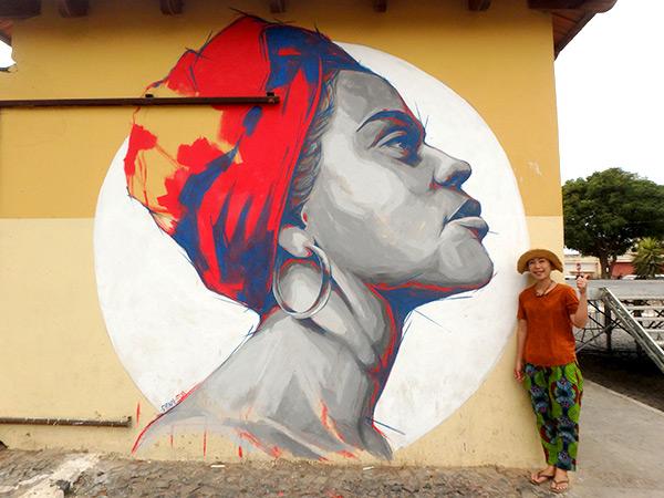 タラファルの町中で見つけた格好良い壁画♪
