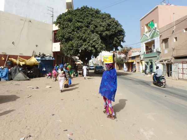 歩道にはサラサラの砂が溜まっていて、砂埃がすごいので洗濯物にも砂が・・・