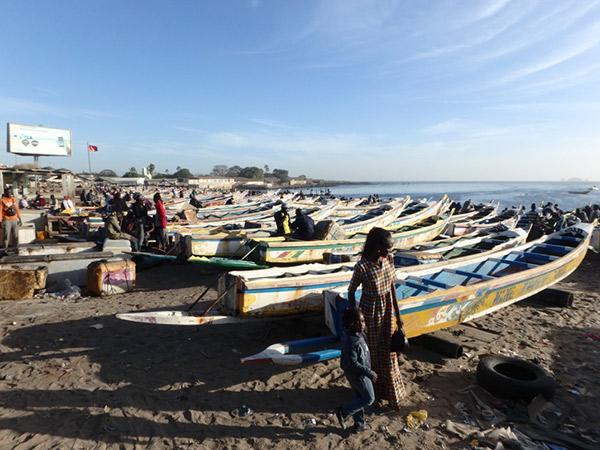 夕方になると次々に船が戻って来て、多くの人で賑わうスンベジウムSoumbediouneの魚市場
