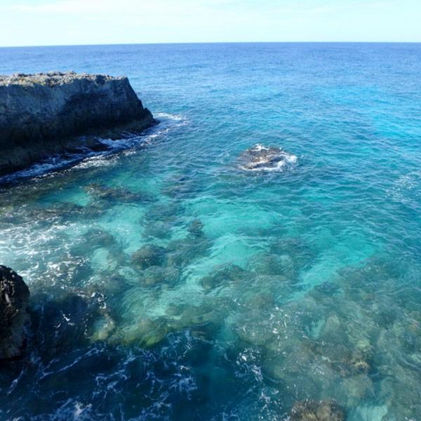 崖の上にある灯台からの眺め。海がとても綺麗で気持ちがいいです♪