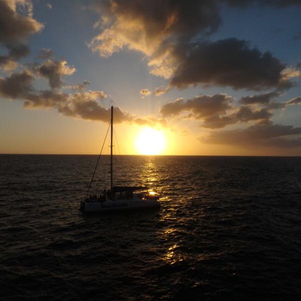 カリブ海に沈む美しい夕日